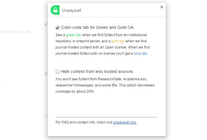 this new browser plug in lets you access millions of scientific  unpaywall plugin settings in chrome