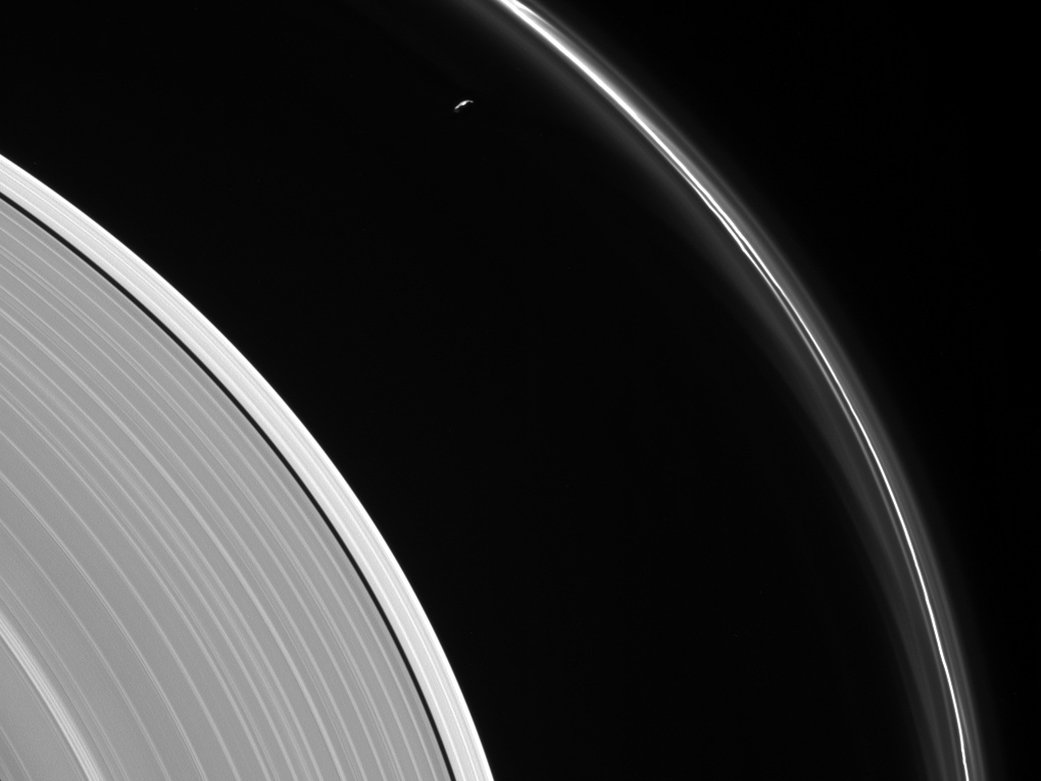 saturns moon prometheus inside saturns f ring
