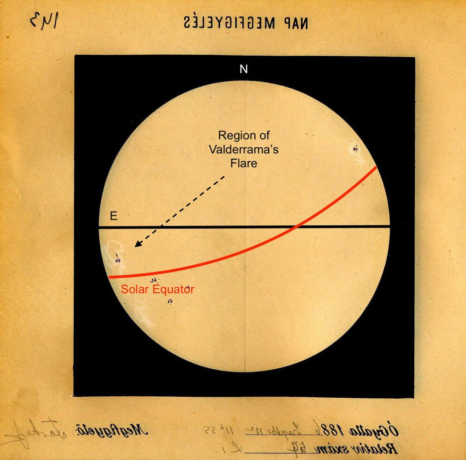 observatory plate showing valderrama flare body