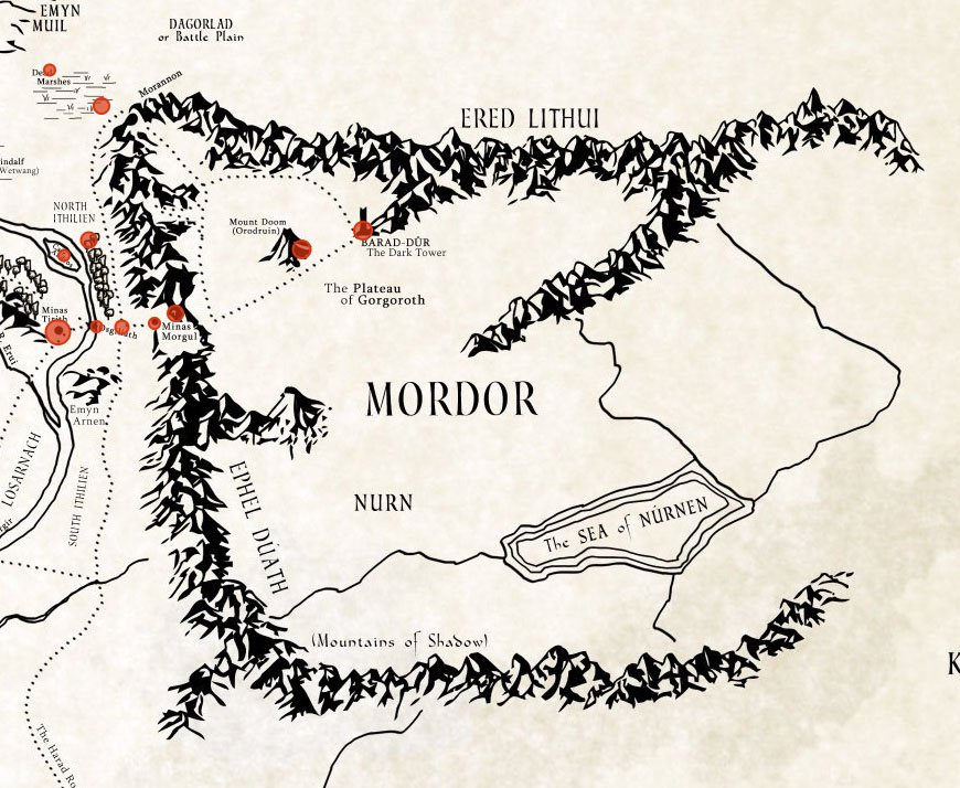 mordor as depicted on interactive map