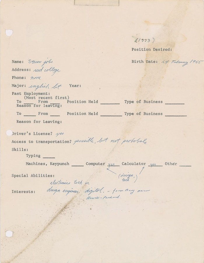 this messy 1973 job application by steve jobs is proof anything is possible