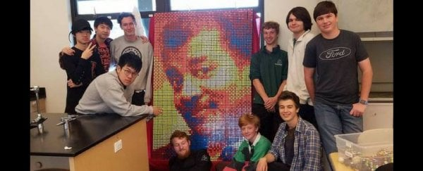 These Students Created a Mosaic of Neil DeGrasse Tyson's Face Out of 600 Rubik's Cubes