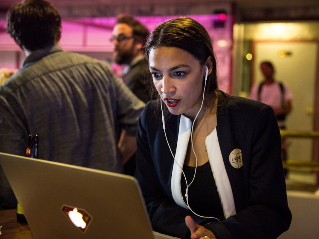 Alexandria Ocasio-Cortez celebrating her nomination (Scott Heins/Getty)