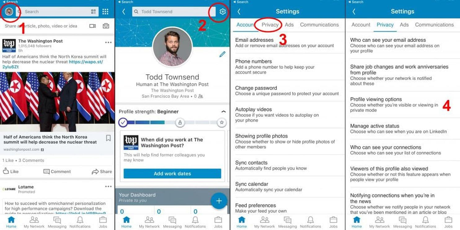 How to get to LinkedIn's privacy settings on the iPhone app (The Washington Post)