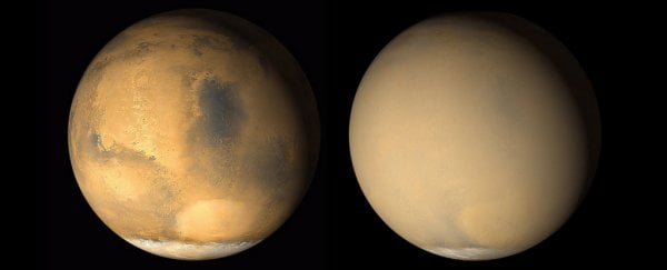 A dust storm is engulfing Mars, and NASA images show the situation is bleak