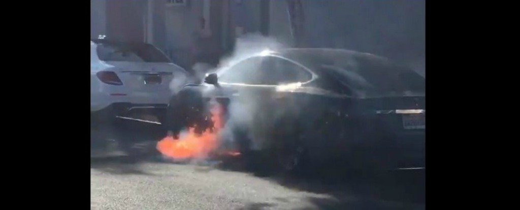This Scary Video Shows a Tesla Bursting Into Flames, Without Any Warning
