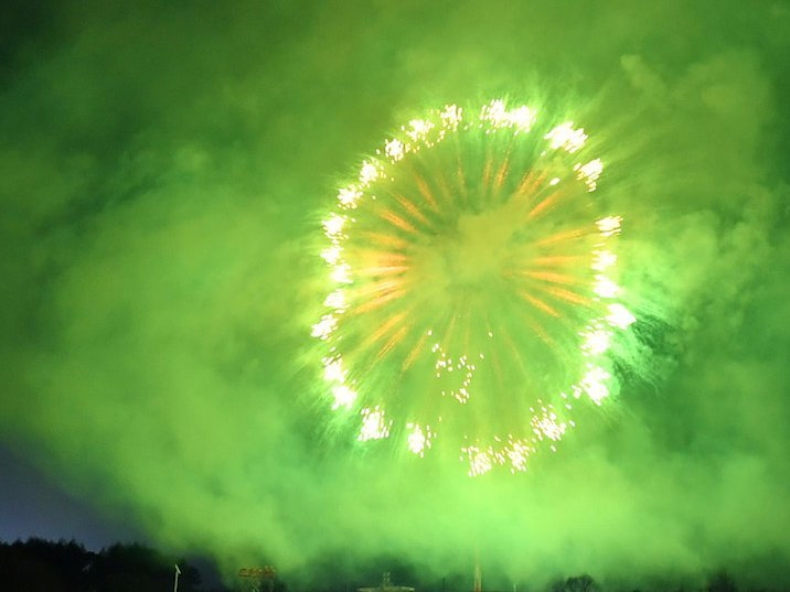 green fireworks 4th july bi