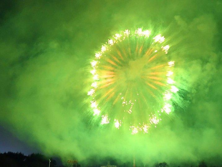 green fireworks 4th july bi