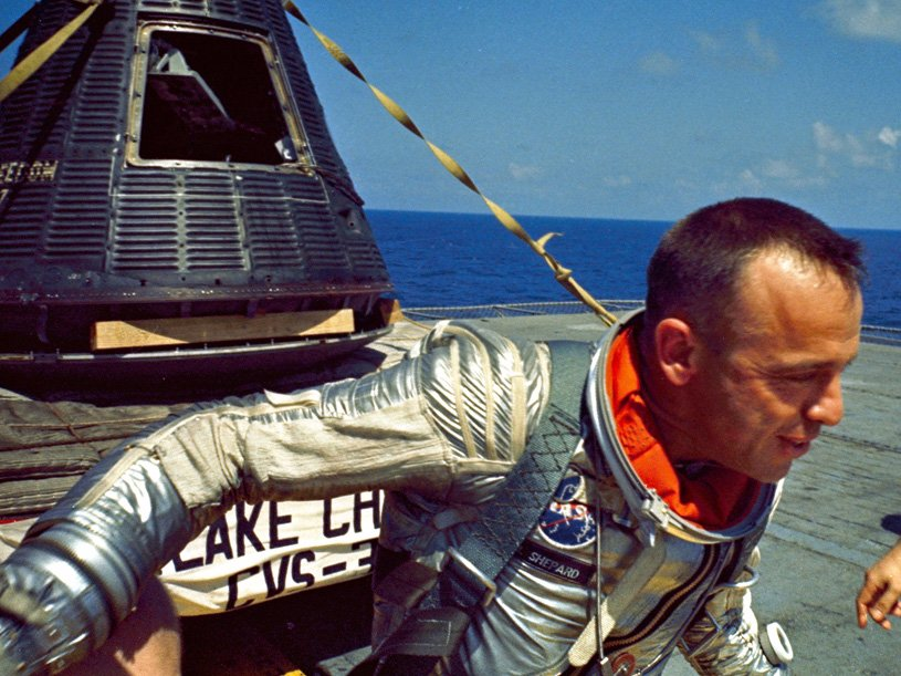 Astronaut Alan Shepard after his Mercury capsule was recovered (NASA)