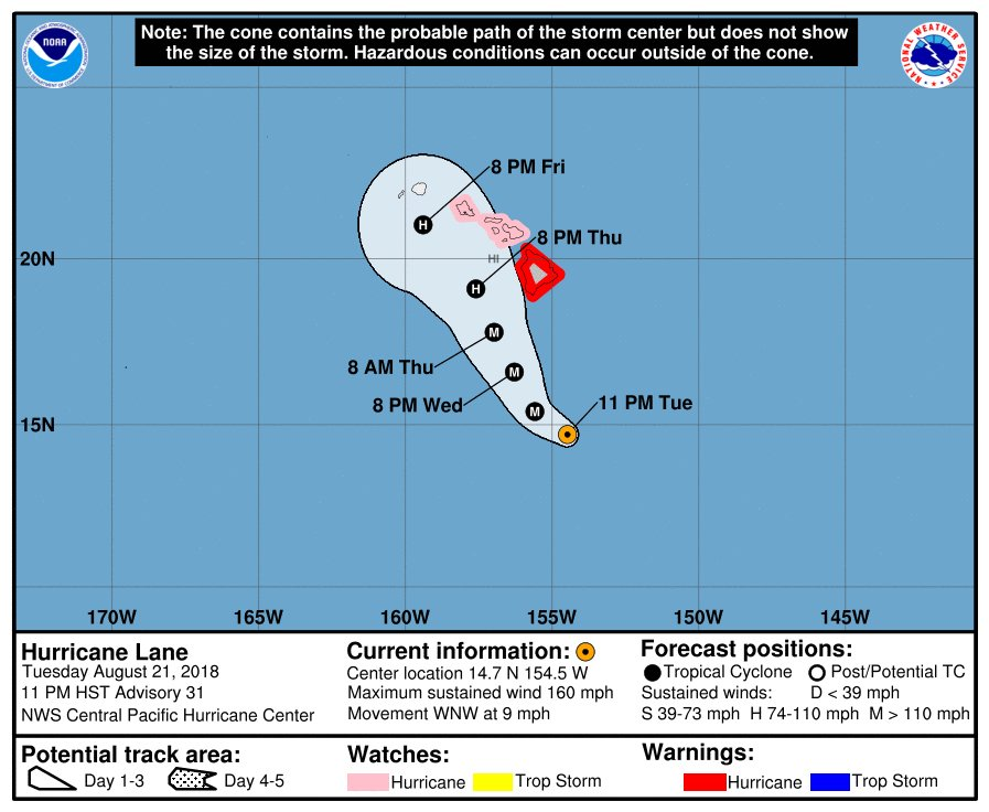 The probable path of Hurricane Lane (Central Pacific Hurricane Center)