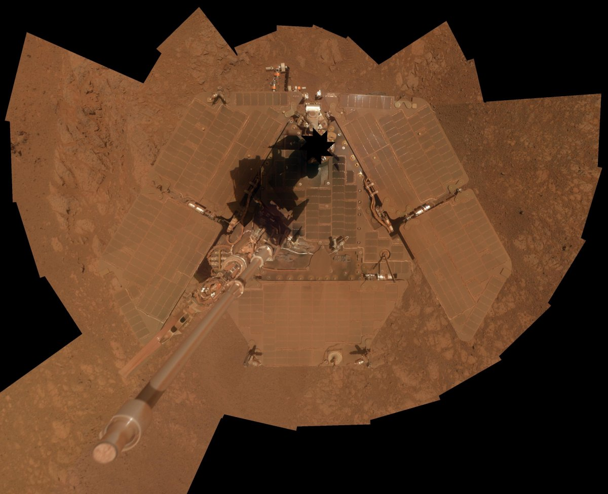 Dust covered Opportunity. (NASA/JPL-Caltech/Cornell Univ./Arizona State University)
