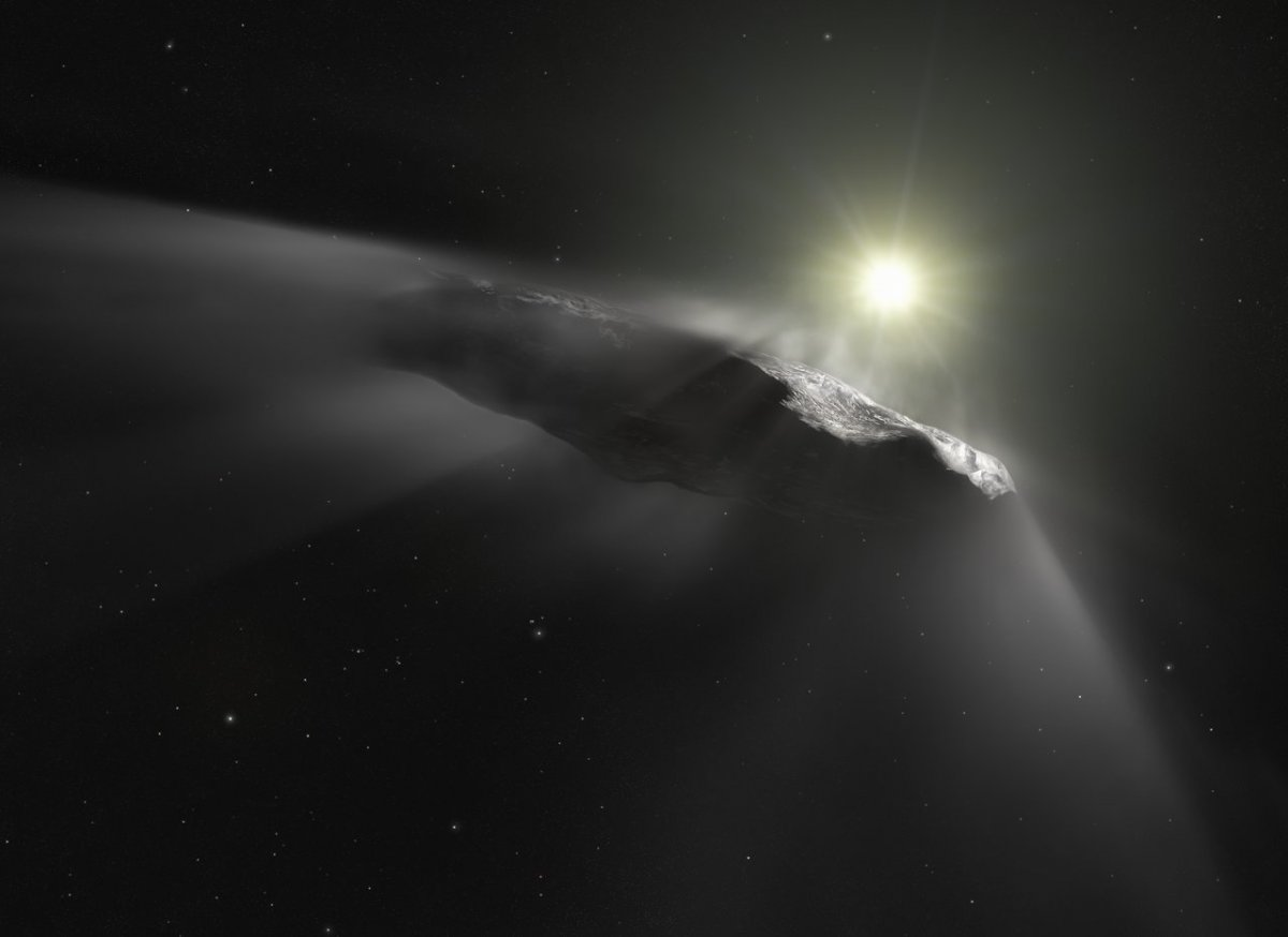 Illustration of the comet Ounuamua. (M. Kornmesser/ESA/Hubble/NASA/ESO)