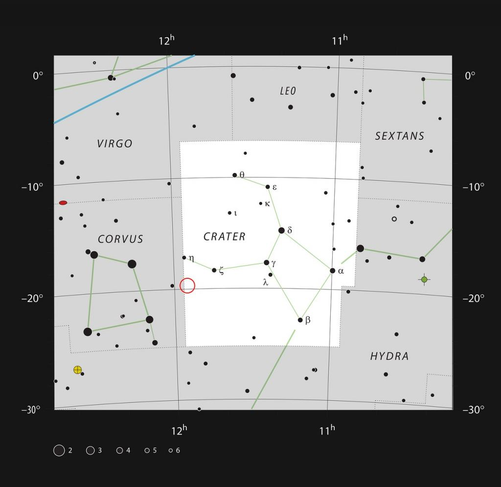 Star chart showing the location of NGC 3981 ( ESO, IAU and Sky & Telescope)