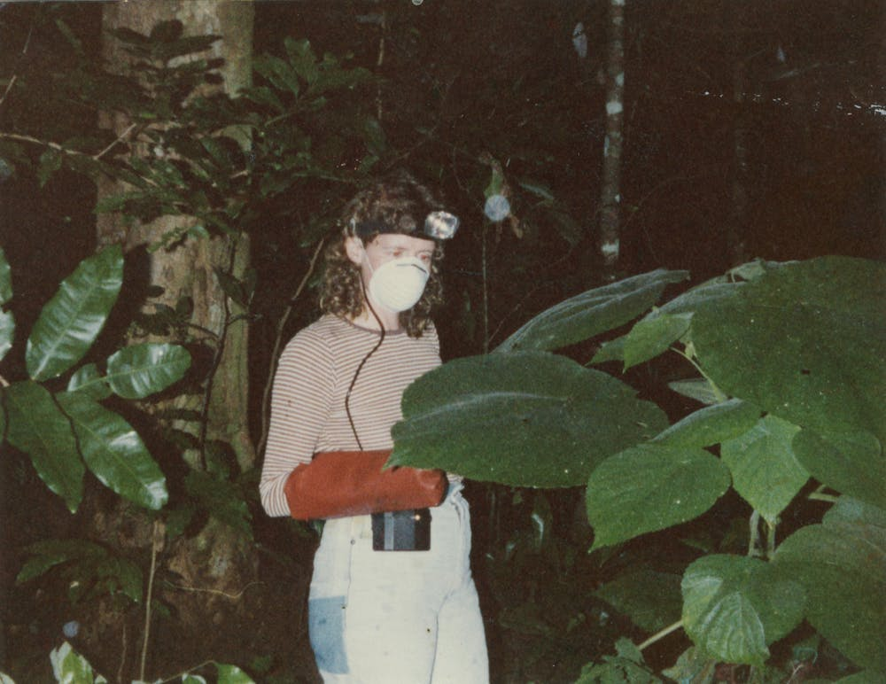 Marina Hurley wore a particle face mask and welding gloves when working with stinging trees. (Marina Hurley)