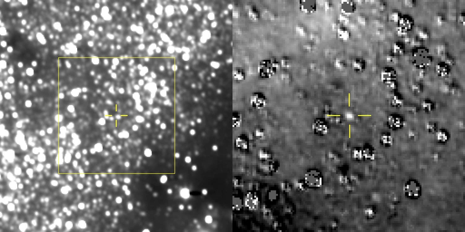 Our best view of Ultima Thule (between the yellow cross hairs) so far. The image on the right has been magnified and had the background stars subtracted from the image. (NASA/Johns Hopkins University Applied Physics Laboratory/Southwest Research Institute)