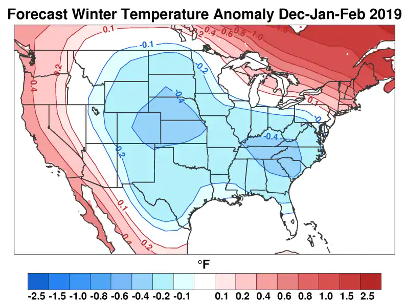 Judah Cohen's winter temperature difference from normal outlook. (Judah Cohen, AER)