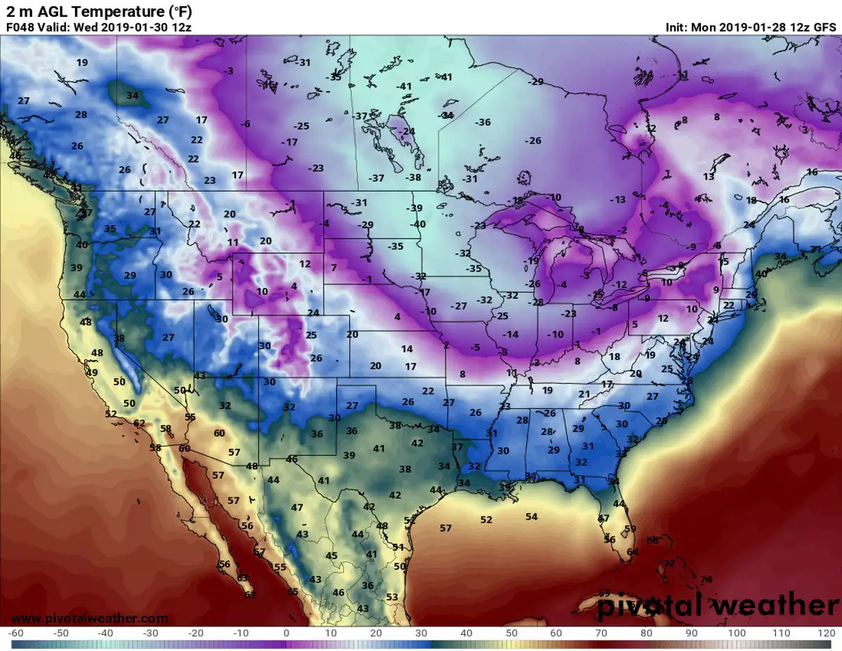 Predicted near-surface air temperatures (F) for Wednesday morning, Jan. 30, 2019. Forecast by NOAA's Global Forecast System model.  (Pivotal Weather/CC BY-ND)