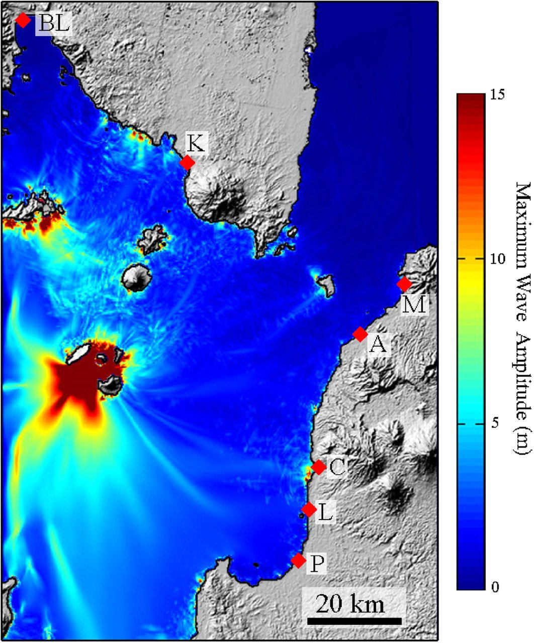 A simulation of an Anak Krakatau volcanic event shows waves of 15 meters or more locally (in red). (Giachetti et al. 2012)