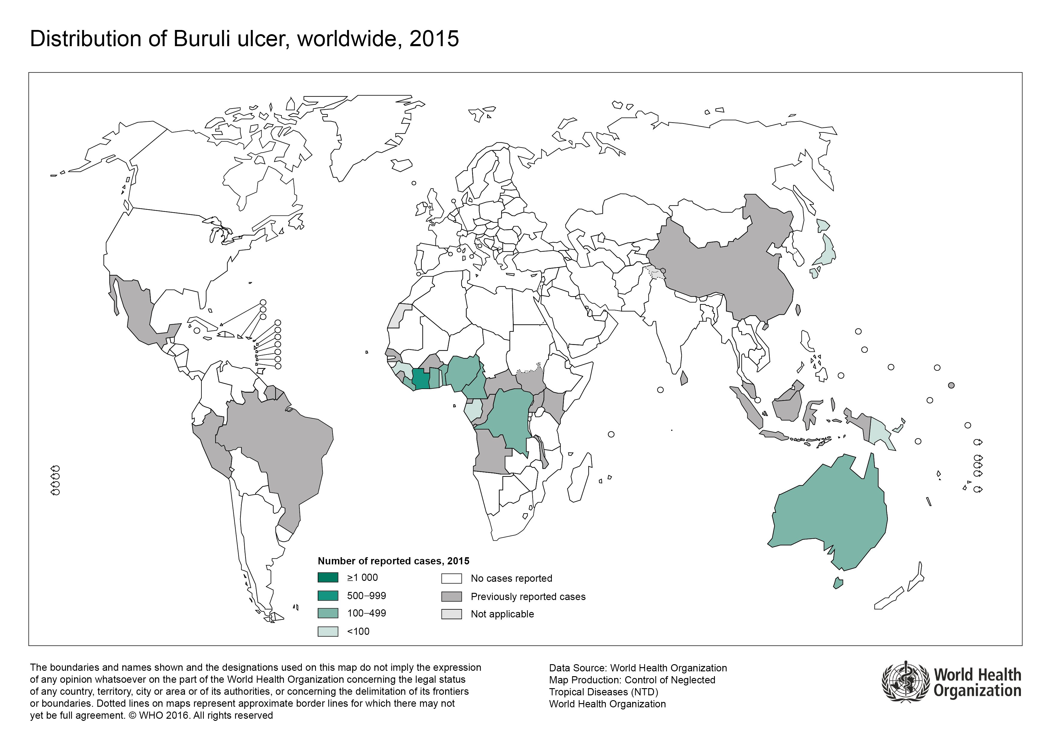 Buruli ulcer distribution in 2015 (WHO)