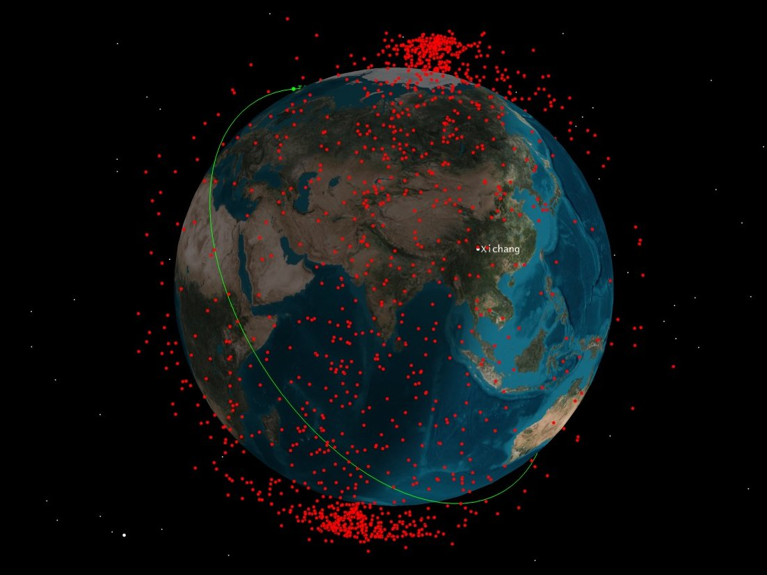 An illustration of the space-debris cloud created by China's 2007 anti-satellite test. (CSSI)
