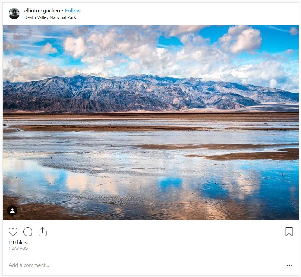 death valley lake instagram embed