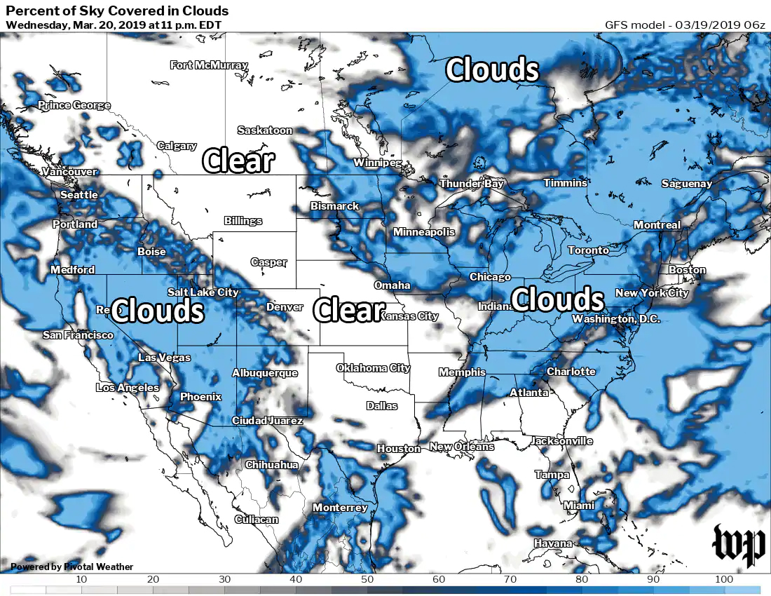 Cloud cover forecast for Wednesday night. (Capital Weather Gang and Pivotal Weather)