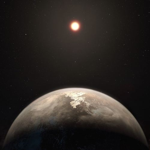 Artist's impression of an exoplanet orbiting a red dwarf star. (ESO/M. Kornmesser)