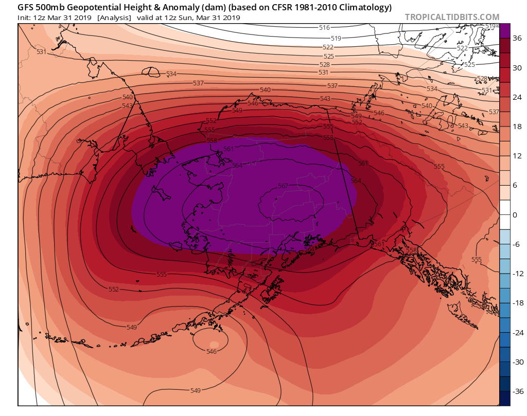 Unusually strong upper-level high pressure was centered over Alaska during the final weekend of March. (Tropical Tidbits)