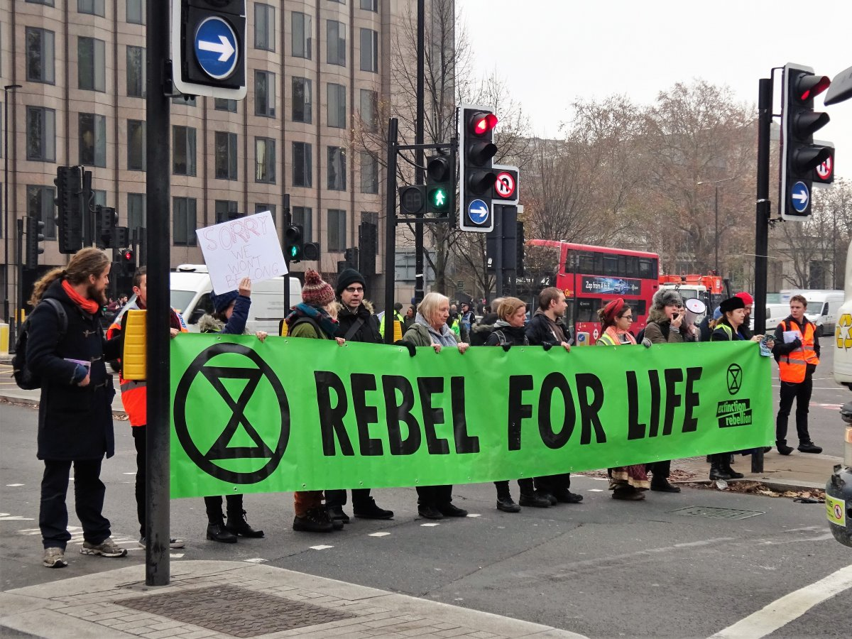 Extinction Rebellion activist on November 2018 in Tower Hill, London. (David Holt/Wikimedia Commons)