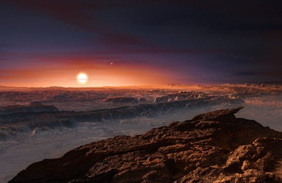 Impression of the writer on the surface of Proxima b turning a red dwarf. (ESO)