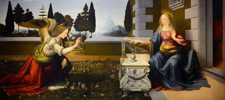 Leonardo da Vinci's The Annunciation (1472). (Galleria degli Uffizi)
