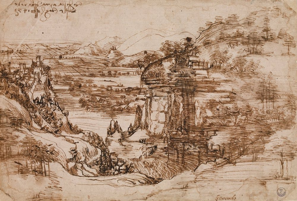 Landscape drawing for Santa Maria della Neve. (https://www.leonardodavinci.net)
