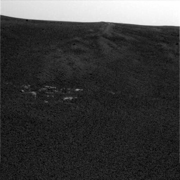 Opportunity's first image from Mars on Sol 1 at 15:30:50 Mars time. (NASA/JPL/Cornell)