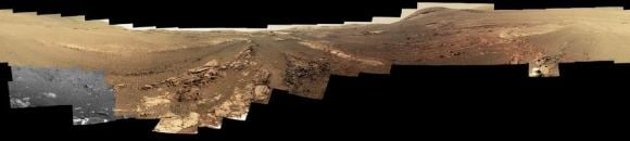 Opportunity's final panorama image of Mars: the Endeavour Crater. (NASA/JPL-Caltech/Cornell/ASU)