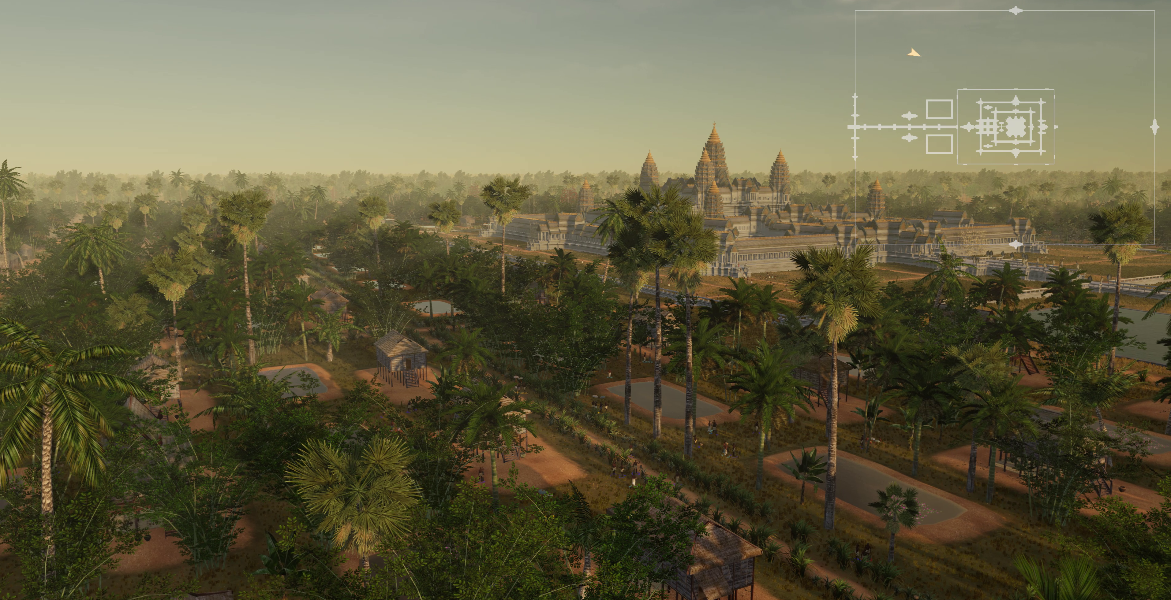 Archaeological visualization of Angkor Wat at sunset, with site map at upper right. (Tom Chandler/Mike Yeates/Chandara Ung/Brent McKee/Monash University/SensiLab/2019)