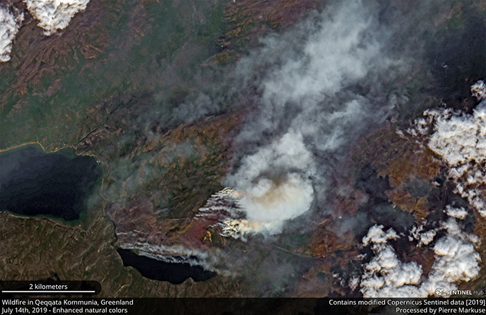 Wildfire in the Qeqqata Kommunia, Greenland - July 14th, 2019