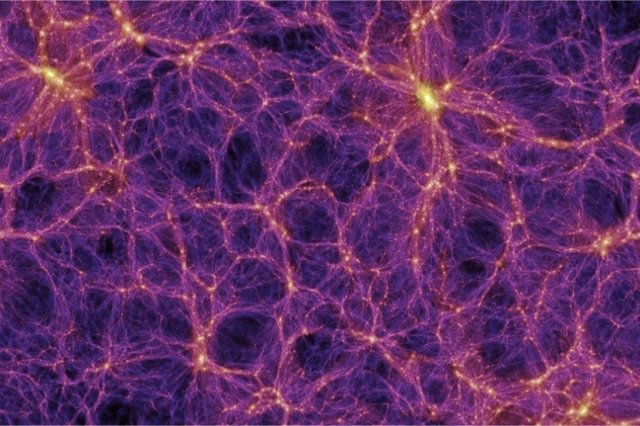 The large-scale structure of the Universe showing filaments and voids (Millennium Simulation Project)