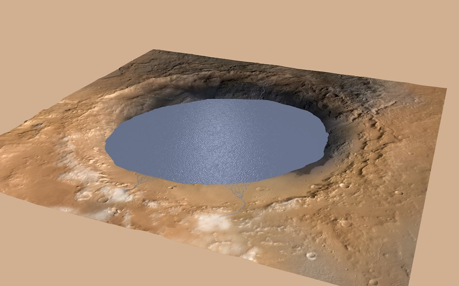 Simulated image of Mar's Gale Crater Lake. (NASA/JPL-Caltech/ESA/DLR/FU Berlin/MSSS)