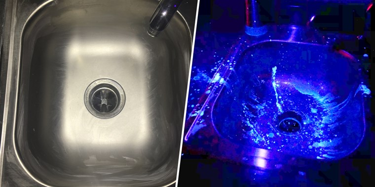 'Cleaned' sink in normal light (left), same sink under light that reveals contaminant (right). (Lisa Shelley/NC State University)