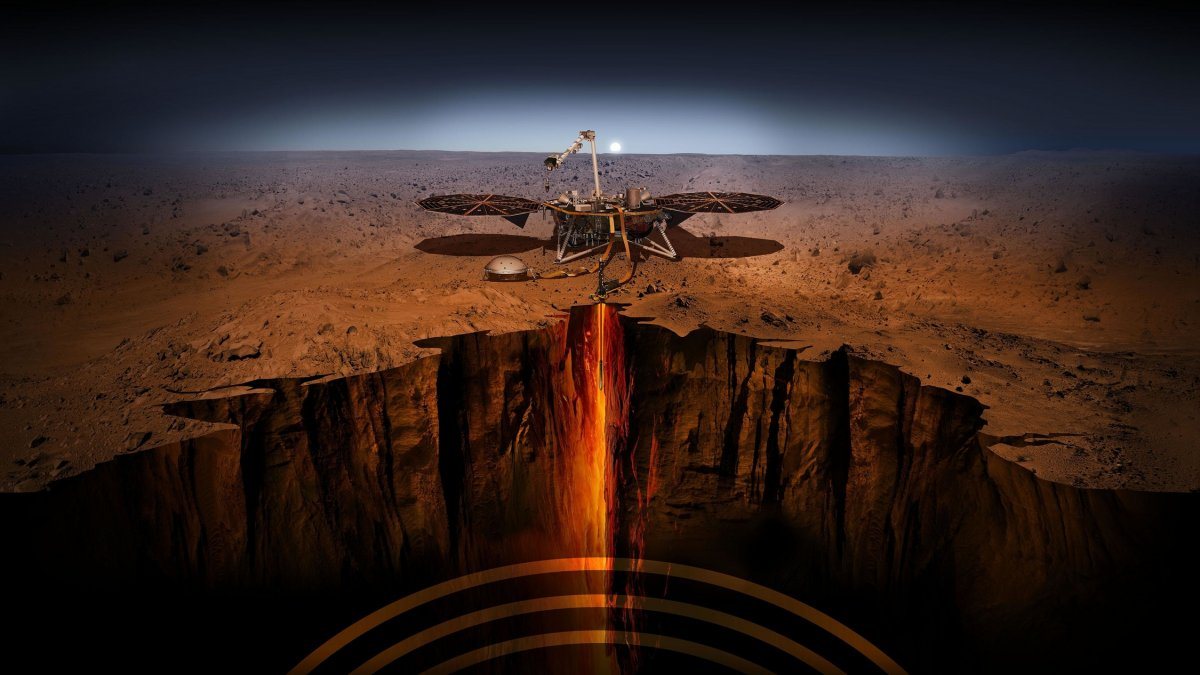 Illustration of the InSight lander on Mars. (NASA/JPL-CaltechAn)