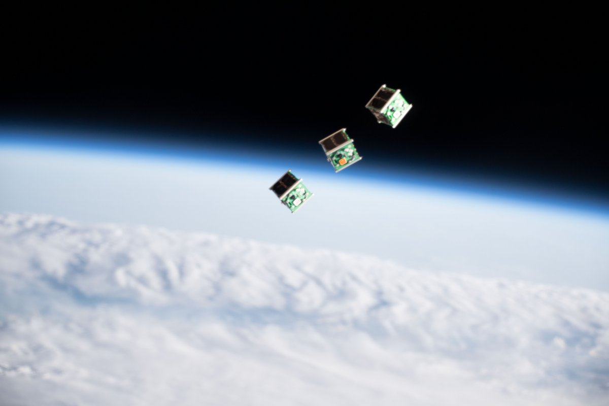 Three CubeSats ejected from the Japan Aerospace Exploration Agency's Kibo laboratory. (NASA)