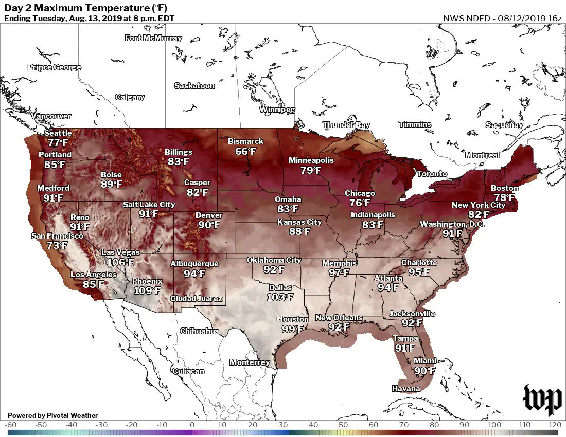 Previsión de altas temperaturas para el martes. (El Washington Post)