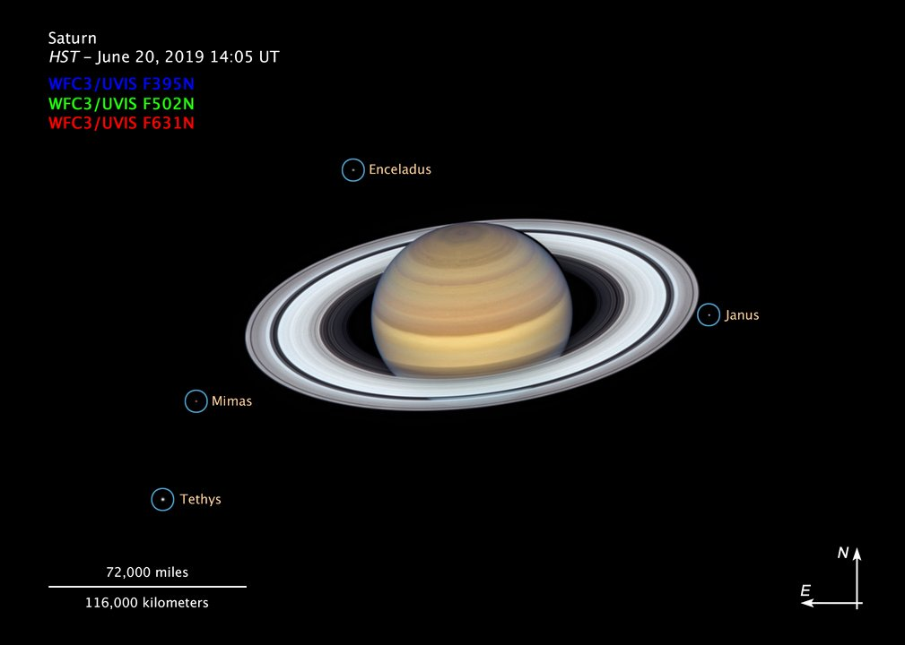 The latest image showing four of Saturn's moons. (NASA/ESA/A. Simon/Goddard Space Flight Center/M.H. Wong/OPAL Team)