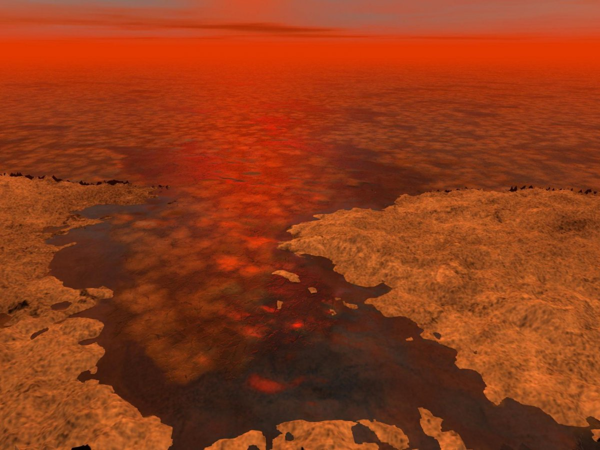 What hydrocarbon ice forming on a hydrocarbon sea might look like on Titan. (NASA/JPL-Caltech/USGS)