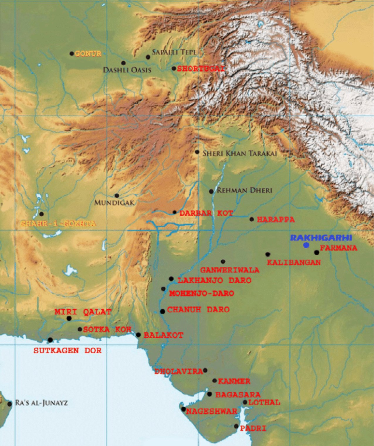 Map of the Indus Valley Civilisation and other significant Harappan sites. (Shinde et al. Cell, 2019)