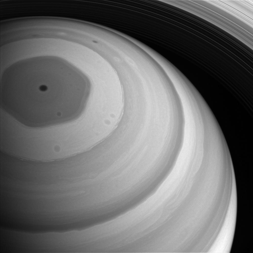 Saturn's northern polar vortex captured by Cassini. (NASA/JPL-Caltech/Space Science Institute.)