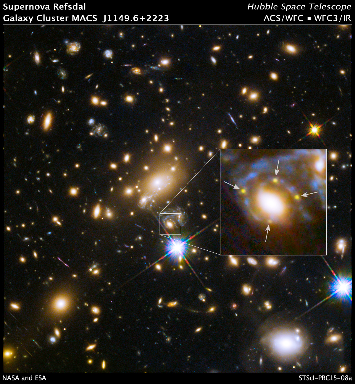 A cluster galaxy (centre of the box) split light from an exploding background supernova into four yellow dots. (NASA/Hubble)