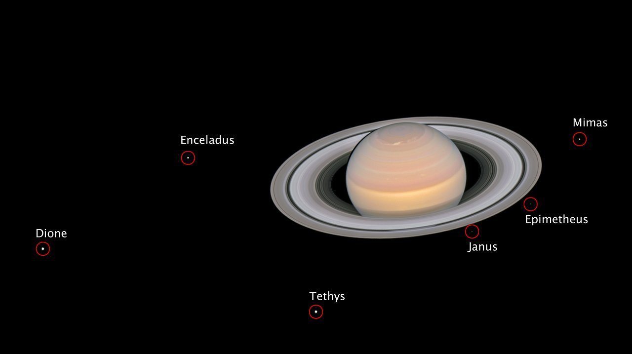 Composite photo from 2018 showing six of Saturn's moons (NASA/ESA/ A. Simon/GSFC/OPAL/J. DePasquale/STScI)