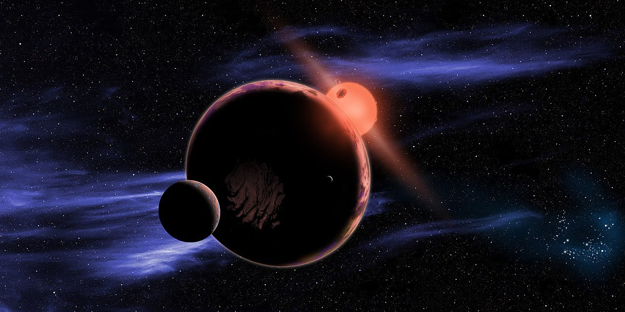 An exoplanet and moon orbiting a red dwarf star. (D. Aguilar/NASA/Harvard-Smithsonian Center for Astrophysics)