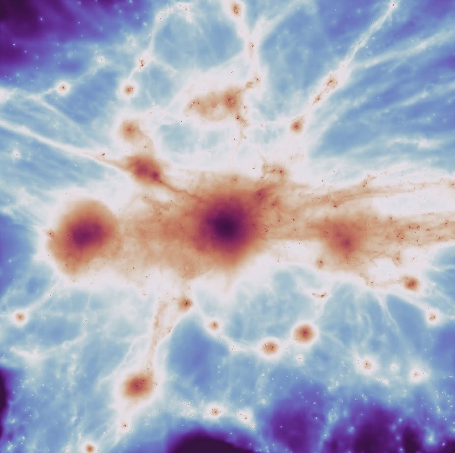 aglomerado de galáxias massivo da simulação, com filamentos. (Joshua Borrow / C-EAGLE)